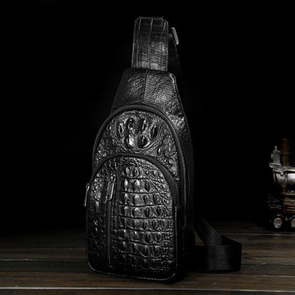 Men Genuine Leather Crocodile Stripe Business Casual Black Shoulder Crossbody Ba - US$49.05