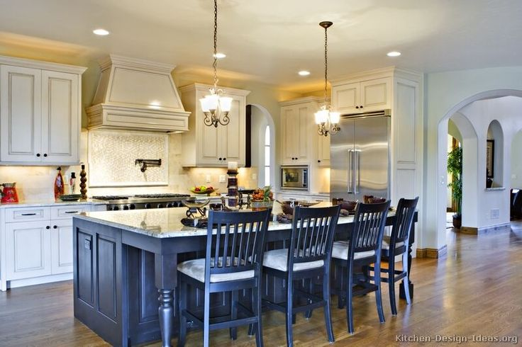 Traditional Black Kitchen Cabinets #TT13 (Kitchen-Design-Ideas.org)