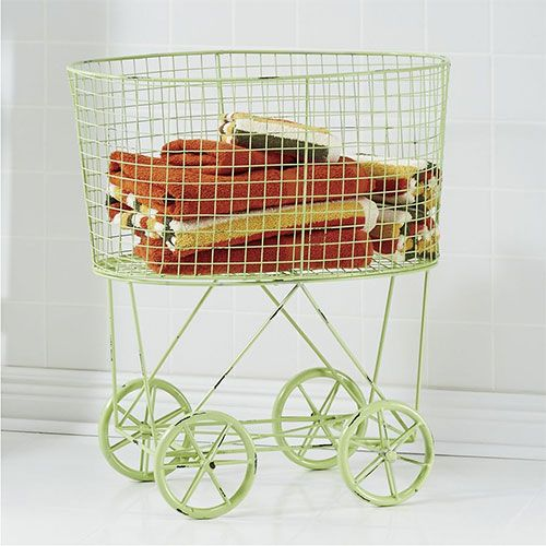 get those sorted piles up off the ground with colorful rolling laundry baskets on wheels