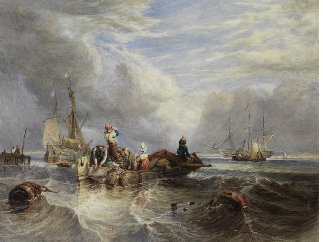 "Clarkson Stanfield (British, 1793-1867),  ""A Market boat on the Scheldt"""