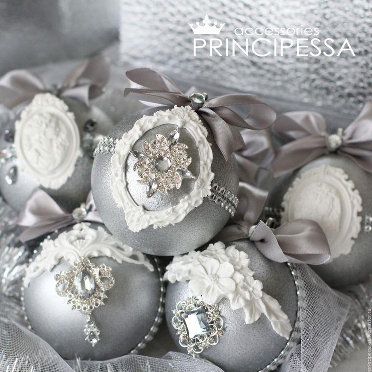 """Купить """"Серебро"""" набор новогодних шаров - серебряный, аксессуары, Аксессуары handmade, аксессуары для фотосессий"""