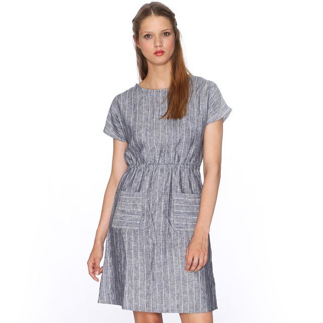 PEPALOVES Dress Lace short-sleeved dress. Gathered waist. Round neck. All-over striped print. 2 pockets on the front. Triangle cutout at the back, buttoned at the top. Fabric content and details. Fabric: 100% linen Brand: PEPALOVES