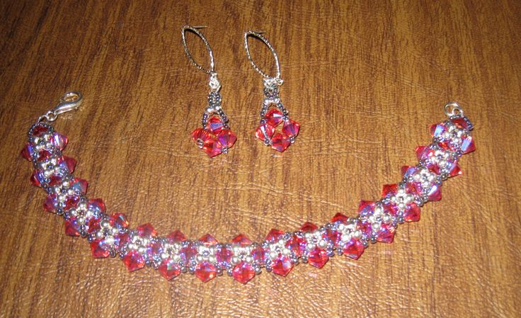 Pink Swarovski Crystal bracelet and earrings