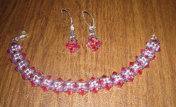 Pink Swarovski Crystal bracelet and earrings