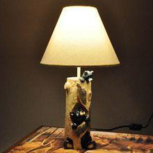 Современный 2 смола медведи дети спальня настольные лампы симпатичные белой ткани абажур кабинет детская стол лампы освещения