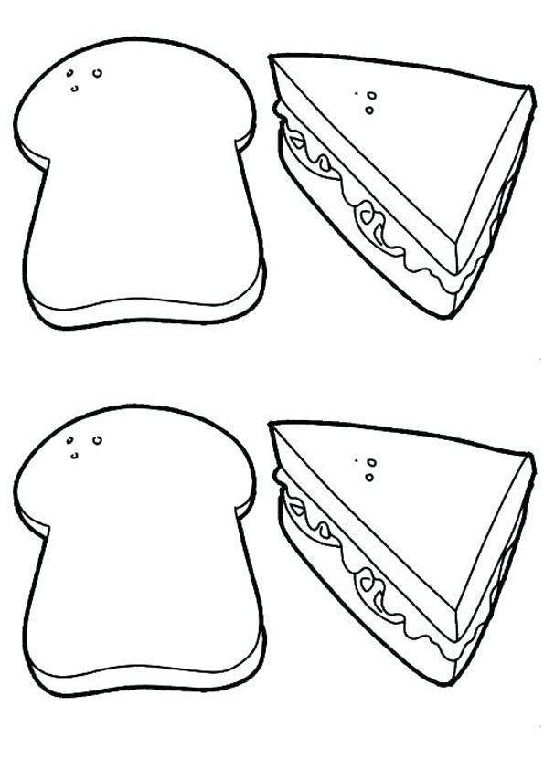 Printable Sandwich Coloring Page Coloring Pages For Kids Coloring Pages Color
