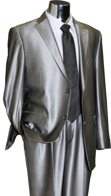 silver suit | Shiny 2 Button Silver TNT Sharkskin Mens Suit $189 Mens Discount Suits ...