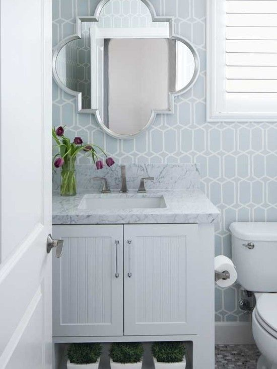 Blue White Modern Wallpaper In Bathroom