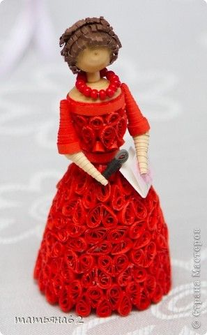Beautiful Quilled Lady in Red