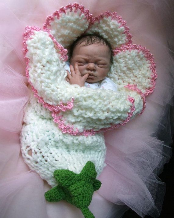 Baby in a crochet flower...Adorable!