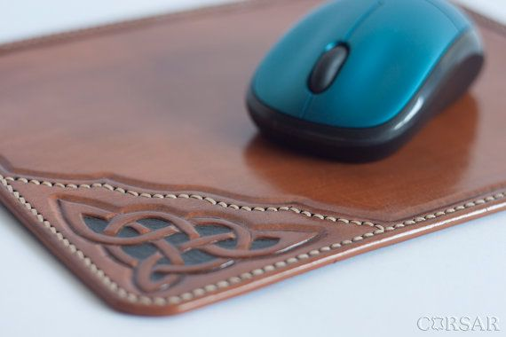 Leather Mouse Pad. leather mat antique design by CorsarLeather