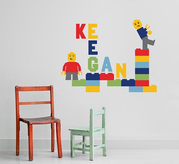 Brickman Childrens with Custom Name Vinyl Wall by InAnInstantArt, $38.00; bought this for Jackson's room and he absolutely adores it! :)