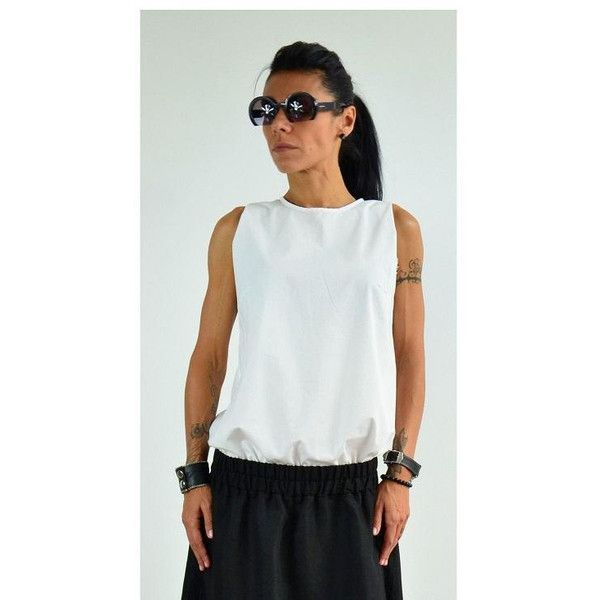 On White Maxi Shirt White Sleeveless Top Woman Casual Shirt White... (62 AUD) ❤ liked on Polyvore featuring tops, blouses, black, women's clothing, plus size white shirt, white wrap shirt, white shirt, women's plus size blouses and white button blouse