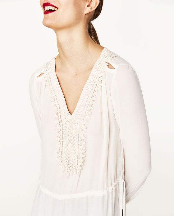Image 2 of FLOWING BLOUSE WITH BIB FRONT from Zara