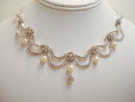 Bridal jewelry set, necklace and earrings set, vintage style, wedding jewelry, victorian inspired