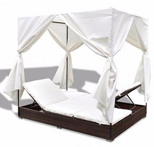 Double Patio Sun Lounger Garden Rattan Outdoor Furniture Set Daybed Sunbed Brown #DoublePatioSun