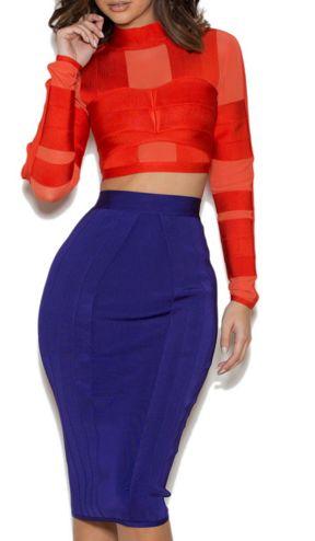 Bandage Dress Set Midi Skirt and Crop Top