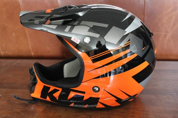 KTM Motorcycle Helmet  (Racing Pro, Men's Used Dirt Bike Helmets, Black, Orange, Grey)
