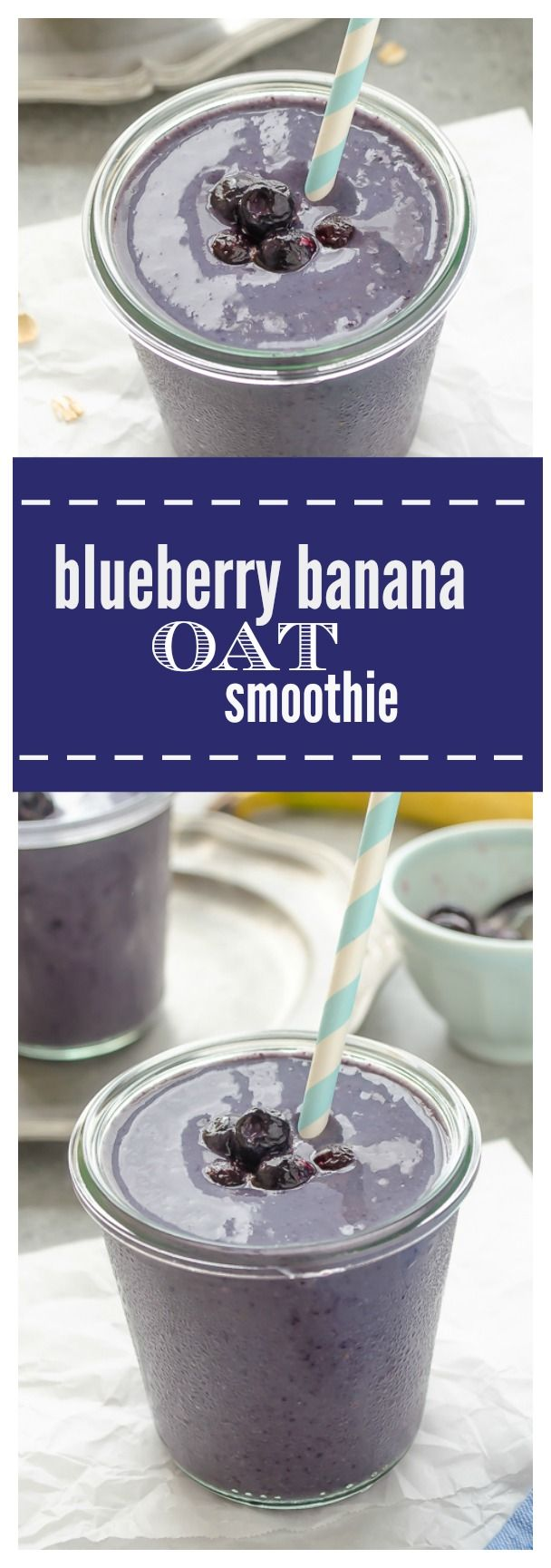 Blueberry Banana Oat Smoothie is a vegan smoothie packed with antioxidants and potassium. It's a great way to start the day! @Flavor the Moments