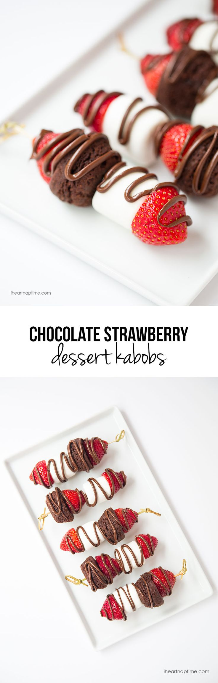 Chocolate strawberry dessert kabobs on iheartnaptime.com -EASY and delicious!