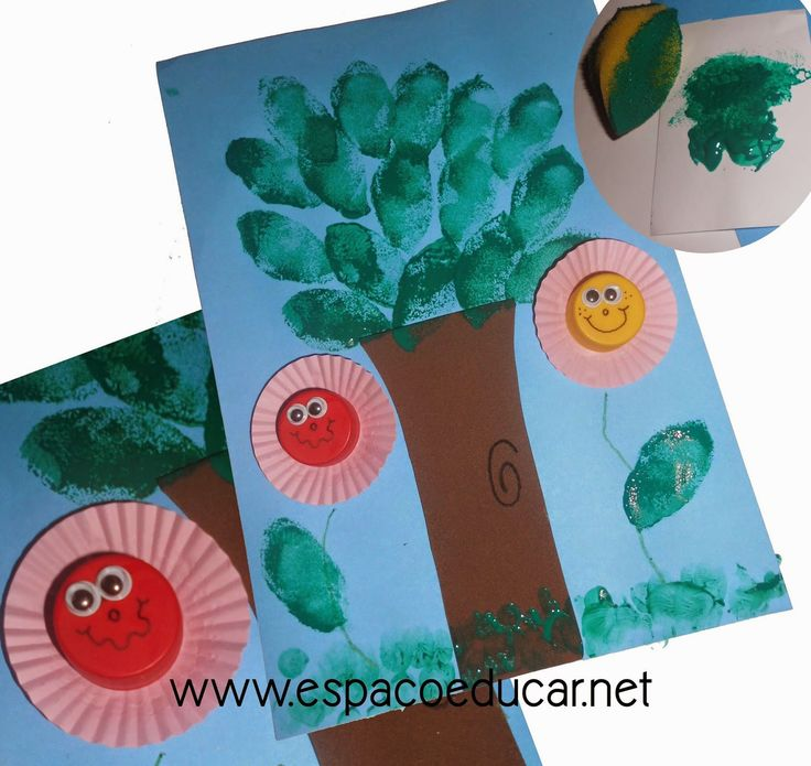 Atividade para o dia da árvore ou primavera: árvore com folhas carimbadas com esponja e tinta! - ESPAÇO EDUCAR