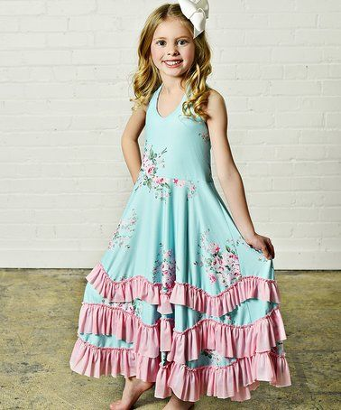 69d224ed6c9 Love this Pink & Aqua Floral Ruffle Maxi Dress - Girls by Oopsie Daisy on  #zulily! #zulilyfinds