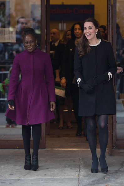 Catherine, Duchess of Cambridge (R), leaves with Chirlane McCray, the wife of the current New York mayor, after visiting Northside Center for Child Development on December 8, 2014 in New York City.
