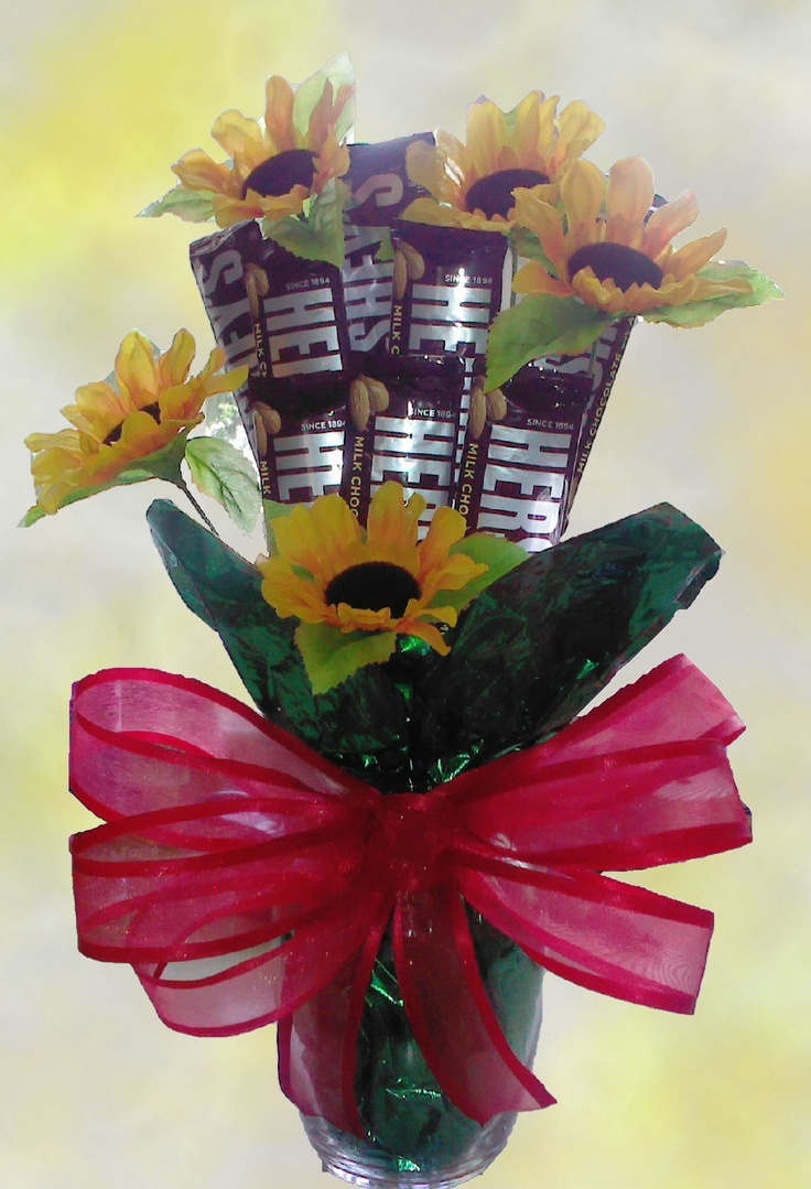 Hershey Candy Bar Bouquet... Easy and inexpensive gift to make! Stay tuned for a How-To video coming soon! :)
