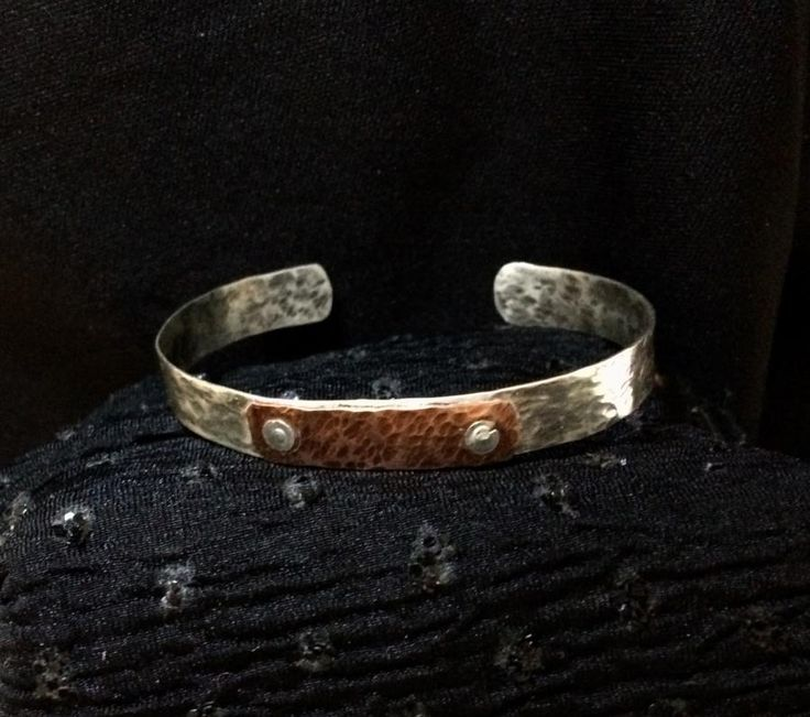 Hammered sterling silver bracelet with copper accent by cindymarie