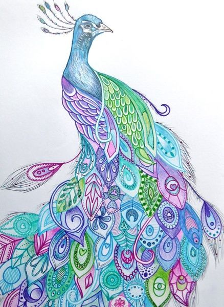 Ink for me? Yes please! Peacock Art Print by Rachel Herworth | Society6