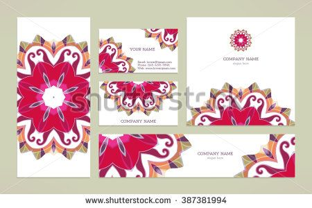 Set  business card with mandala. Free place for your text. Template for flyer, banners,  invitation, sale coupon, gift, certificate. Vintage decorative elements. - stock vector