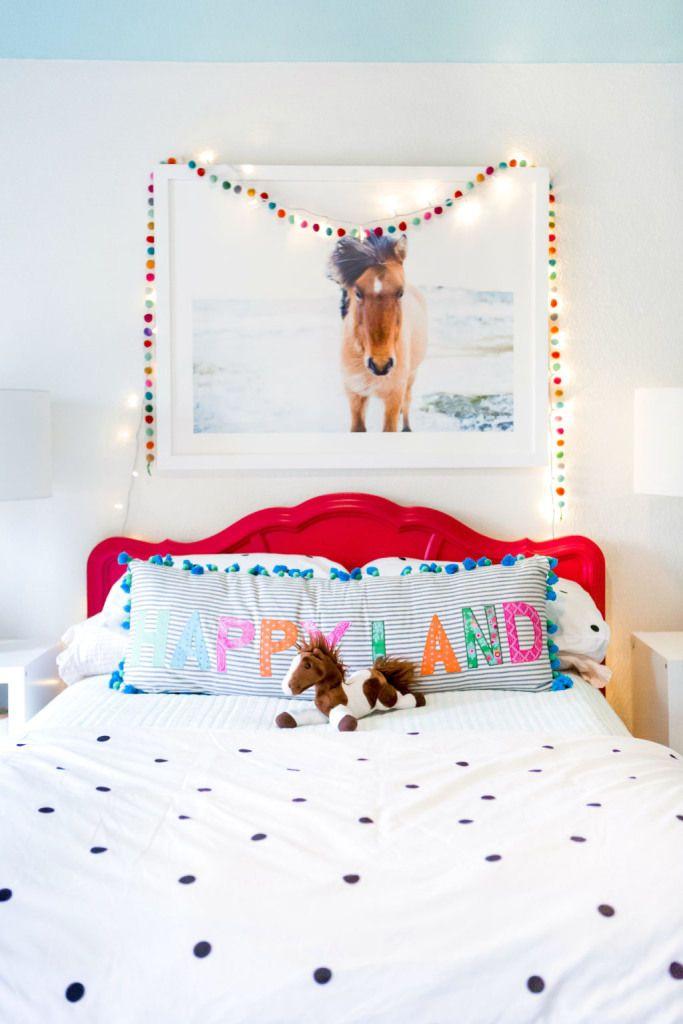 Project Little Miss | Almost Done! https://hisugarplum.com/project-little-miss-more-progress/ #color #bedroom #girlsroom #polkadot #katespade #horse #blueceiling