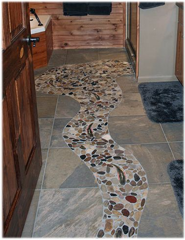 design concept idea for a rustic cabin bathroom stone tile floor