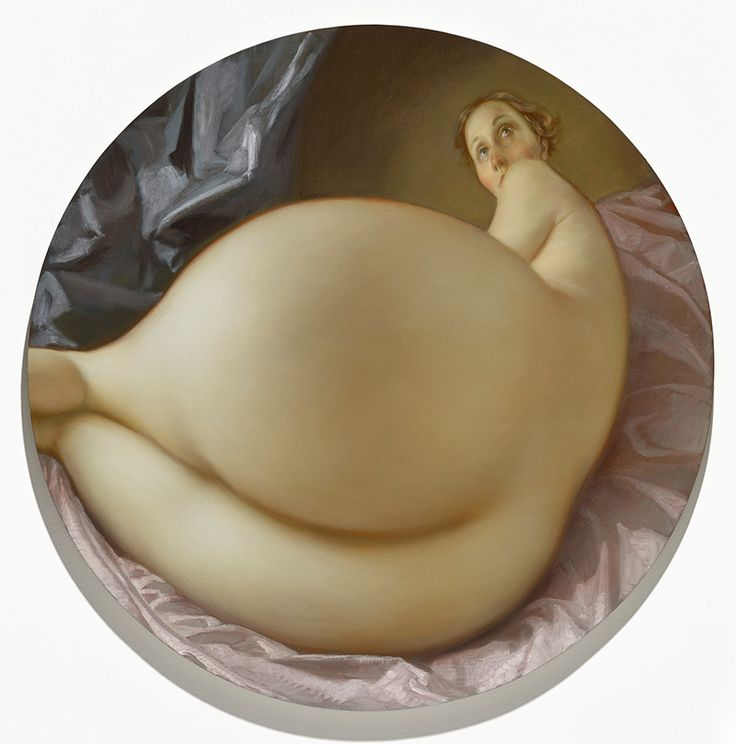 John Currin, Nude in a Convex Mirror, 2015, Private Collection, © John Currin…