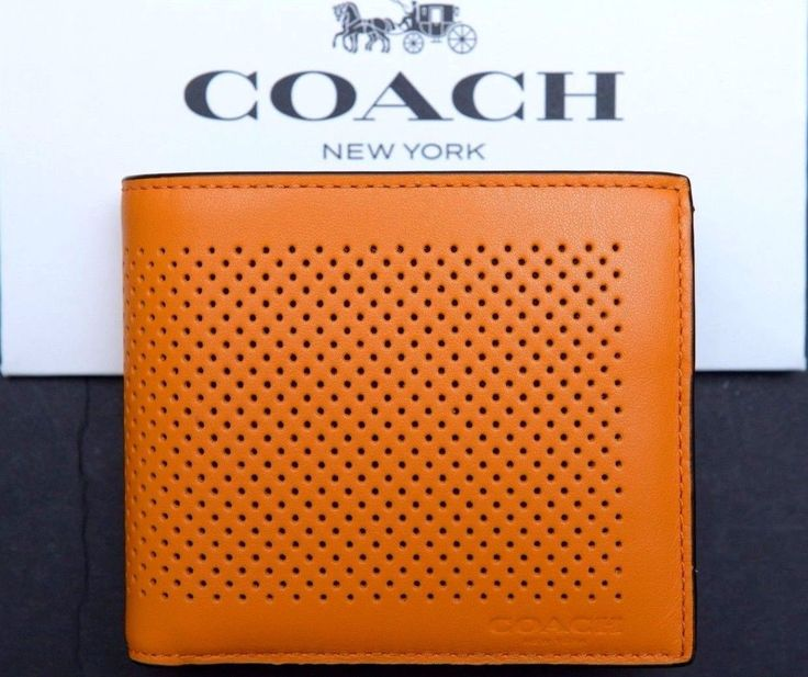 NWT Coach Men $175 Compact ID Perforated Leather Orange Billfold Wallet F75197