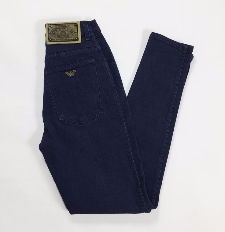 Armani jeans W26 40 mom jeans hot boyfriend usati blu sigaretta vintage T1092