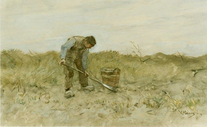 Anthonij 'Anton' Mauve (Zaandam 1838-1888 Arnhem) A farmer digging potatoes - Dutch Art Gallery Simonis and Buunk Ede, Netherlands.