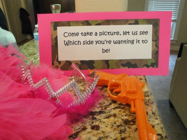 Guns or Glitter gender reveal party