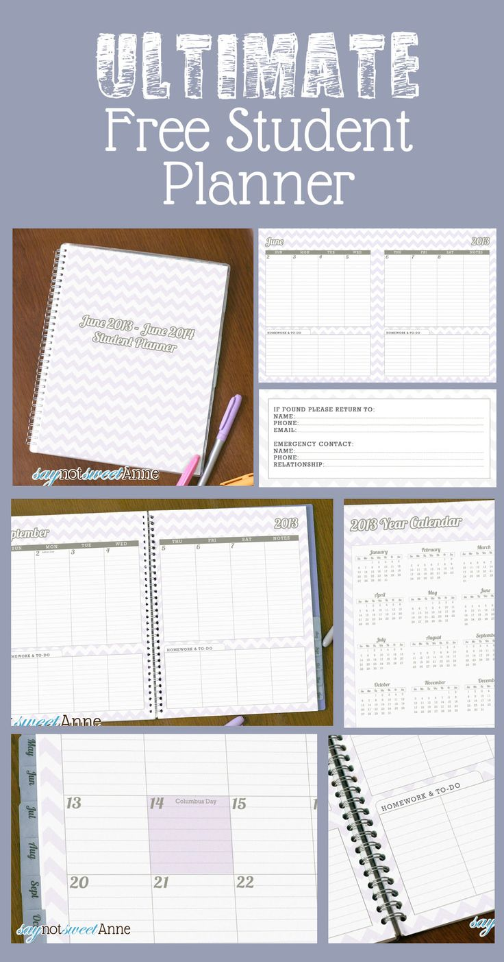 free printable student planner designed to help middle and high school students keep track of pinterest