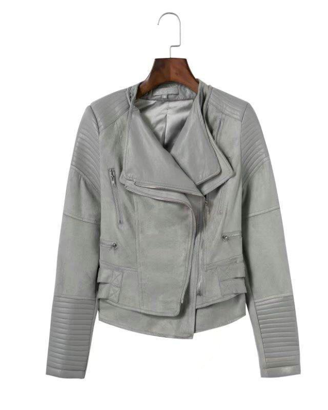 661446a36c6 New light grey faux suede leather women biker jacket moto zipper gray  motorcycle