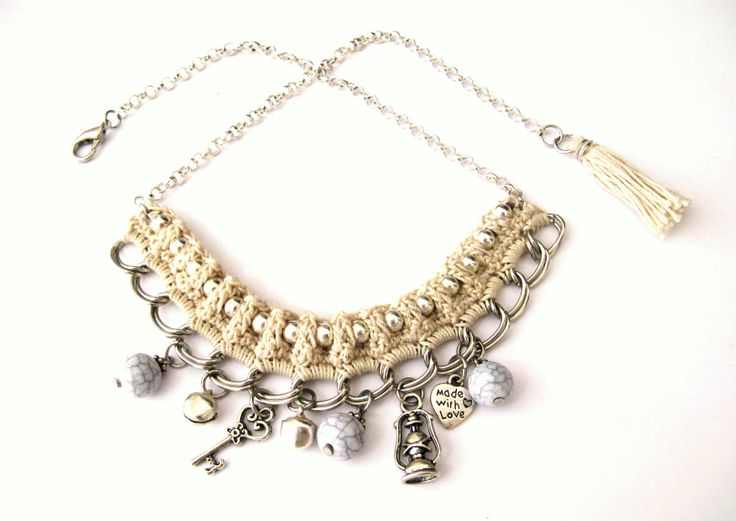 Ivory crochet necklace https://www.etsy.com/listing/173179121/ivory-crochet-necklace-silver-chain?ref=shop_home_active