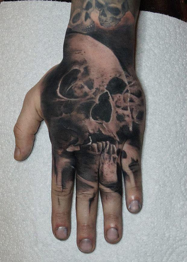 http://tattooideas247.com/hand-skull-tattoo/ Hand Skull Tattoo #BlackInk, #Dark, #HandTattoo, #Skull
