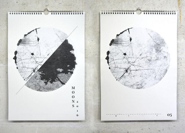 Wandkalender Moons 2016 Monotypie