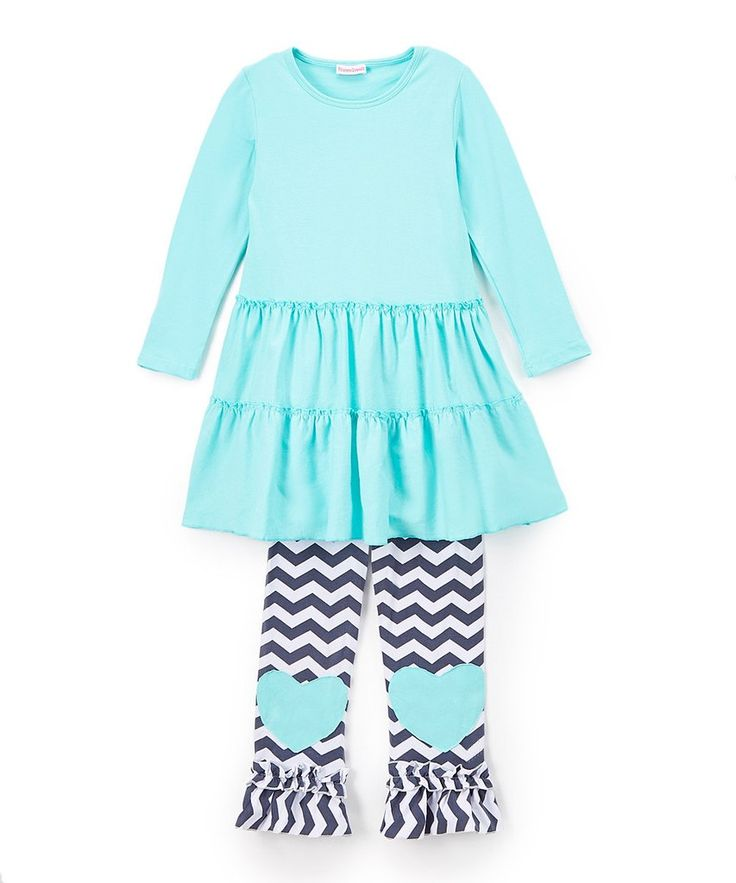 Girls Teal Dress/Tunic With Chevron Heart Patch Legs