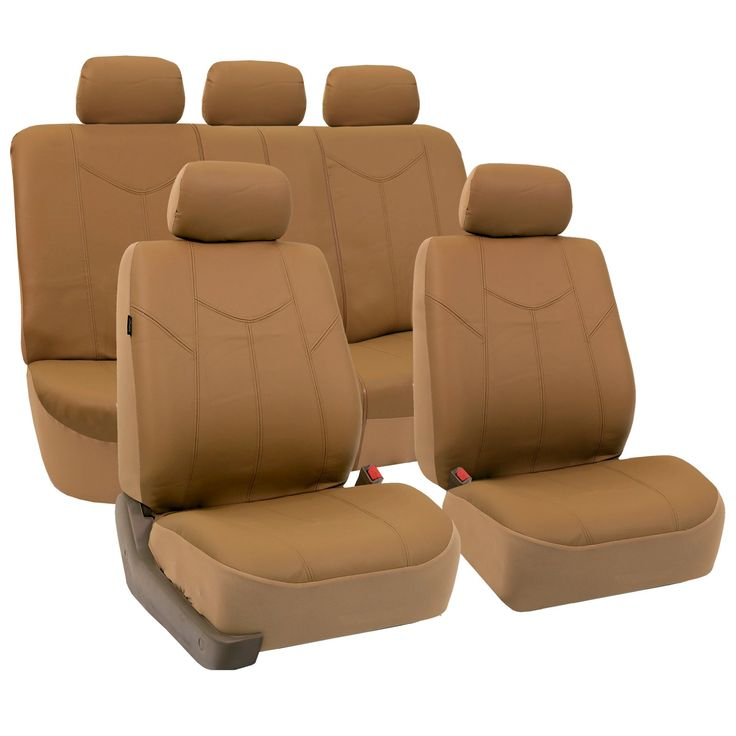 FH-PU009115 Rome PU Leather Seat Covers Airbag Ready & Rear Split, Tan Color- Fit Most Car, Truck, Suv, or Van