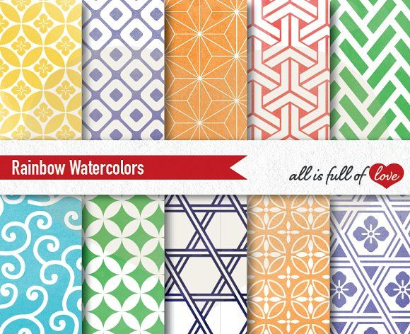 Rainbow Watercolor Graphics to Print by All is full of Love on @creativemarket
