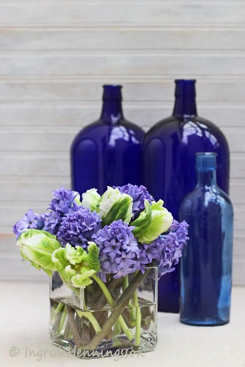 Floral Styling - A Simple Flower Arrangement # 4 - Tulips and Hyacinths - Of Spring and Summer