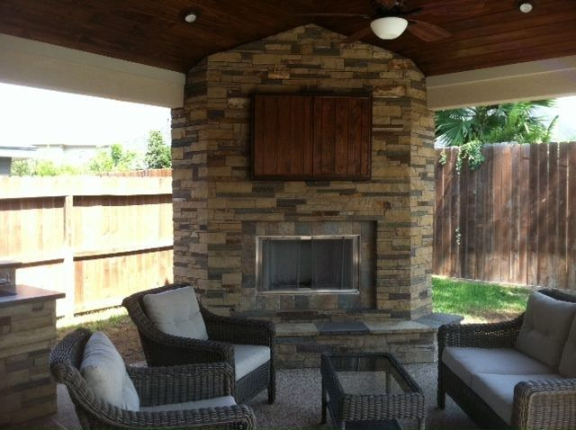 15 best corner fireplace patio images on pinterest - Outdoor fireplace with tv ...