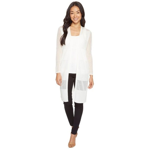 Vince Camuto Specialty Size Petite Long Sleeve Sheer Stripe Long... ($96) ❤ liked on Polyvore featuring tops, cardigans, petite cardigans, open front cardigan, long open front cardigan, lightweight white cardigan and sheer long sleeve top