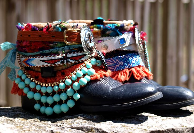 colorful beaded tribal boho black boots from TheLookFactory on Etsy